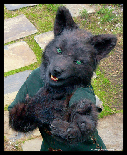 Black wolf, green eyes